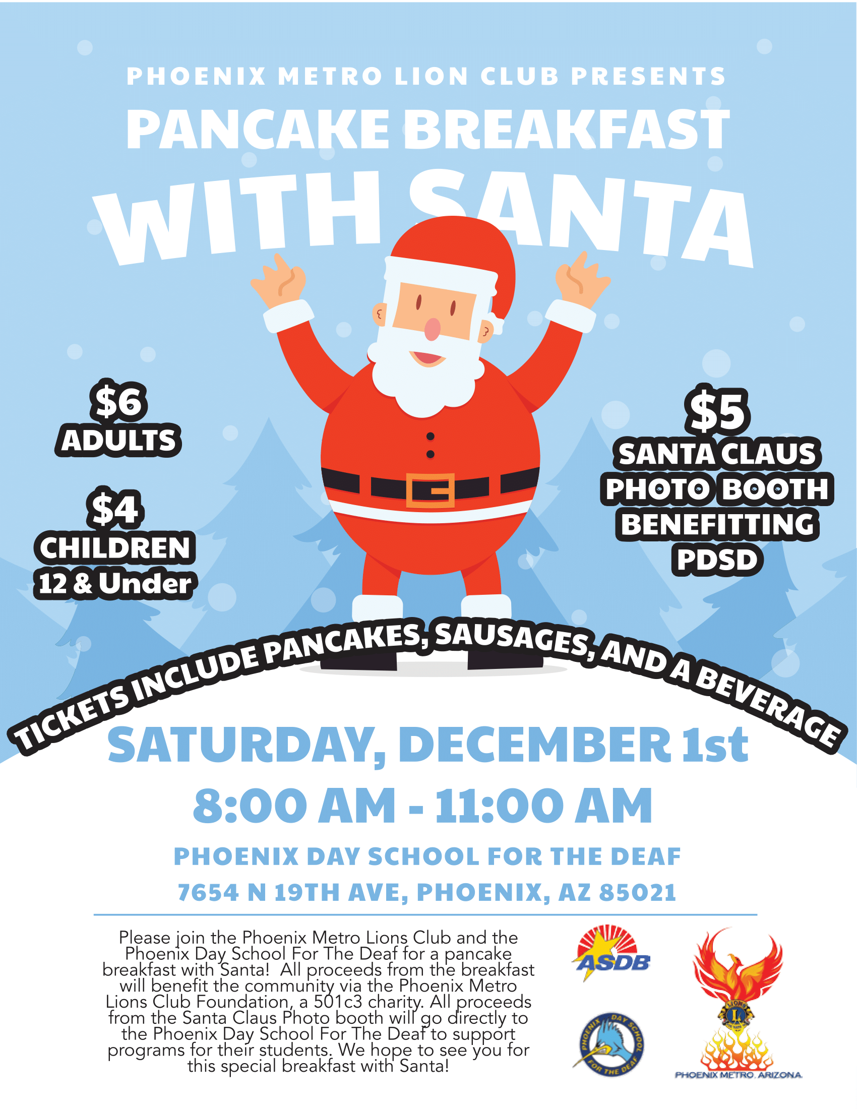 Breakfast With Santa @ Phoenix Day School For The Deaf | Phoenix | Arizona | United States